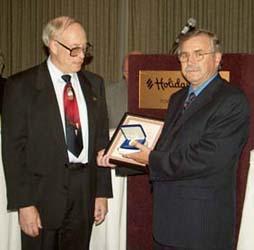 Ron Greene presenting the J. D. Ferguson Award to Dick Dunn