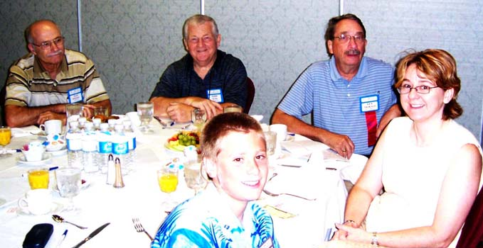 (left to right) Tom Rogers , Ontario Numismatic Association ; Todd Hume, Niagara Falls Coin Club; Len Trakalo, Brantford Numismatic Society; Annie & Xavier Allard, Stratford Coin Club