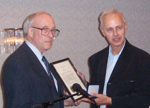 Ron Greene presenting the J. D. Ferguson Award to Harry James