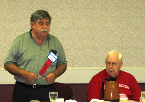 Al Munro and Norm Belsten at the Canadian Association of Wooden Money Collectors breakfast meeting
