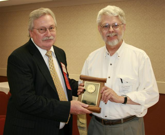Paul Petch receiving a Presidential Award for his ongoing support of the C.N.A.